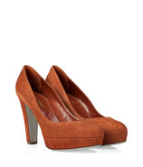 Pearl Copper Suede Platform Pumps