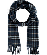 Dark Blue Carbon Check Cashmere Icon Scarf