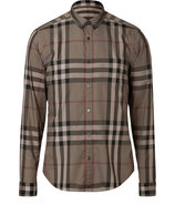 Pebble Olive Check Cotton Niall Shirt