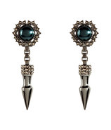 Hematite-Plated Spike & Cabouchon Pearl Earrings