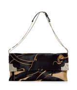 Black and Camel Calf Hair Clutch