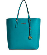 Turquoise Textured Leather Jet Set Travel Tote