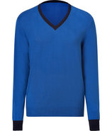 Royal Blue Cotton-Cashmere V-Neck Pullover
