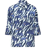 Tonal blue Animal Print Silk Top