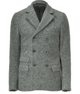 Heather Grey Melange Double Breasted Wool Jacket