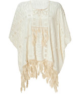 Cream Feather Embellished Top