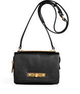 Black Leather Goodbye Columbus Crossbody Bag