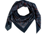 Deep Navy-Multi Printed Silk-Cotton Scarf
