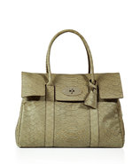 Summer Khaki Snake Print Leather Bayswater Bag