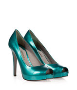 Metallic Turquoise Leather Platform Peep-Toes