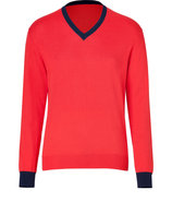 Lobster Red Cotton-Cashmere V-Neck Pullover