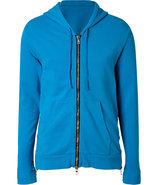 Azure Blue Side Zip Cotton Hoodie
