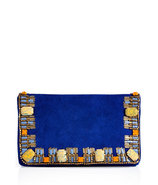 Electric Blue Suede Embellished Clutch