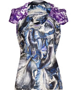 Iris Draped Multi-Print Silk Top