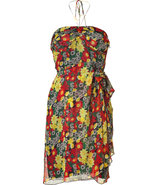 Lipstick Poppy Print Silk Bustier Dress