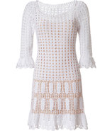 White Cotton Open Knit Dress