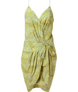 Silver Lemon Printed Draped Dress