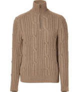Hemp Cable Knit Turtleneck Minster Pullover