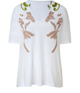 Rose and Grass Green Embroidered Top