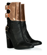 Black and Bronze Buckled Half Boots
