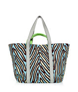 Herringbone Blue Large Kaya Printed Canvas Bag