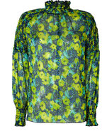 Chartreuse Multicolor Silk-Blend Tunic Top