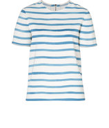Pearl/China Blue Breton Striped Top