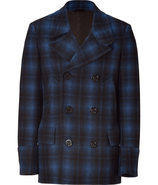 Blue and Black Plaid Coat